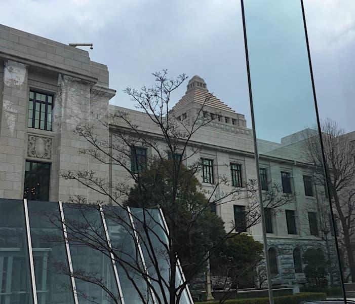 国会議事堂の中をエレベータから見た景色