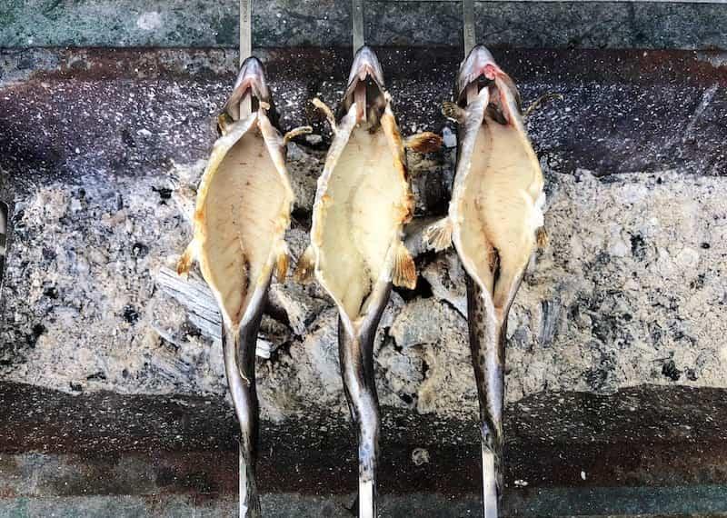 釣った魚を焼いているところ