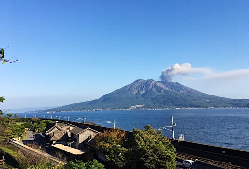 仙巌園から眺める桜島の景色
